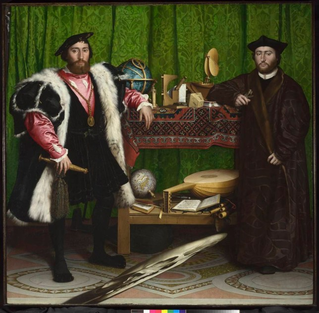 Hans Holbein's The Ambassadors, 1533, with anamorphic skull (Picture: The National Gallery, London)