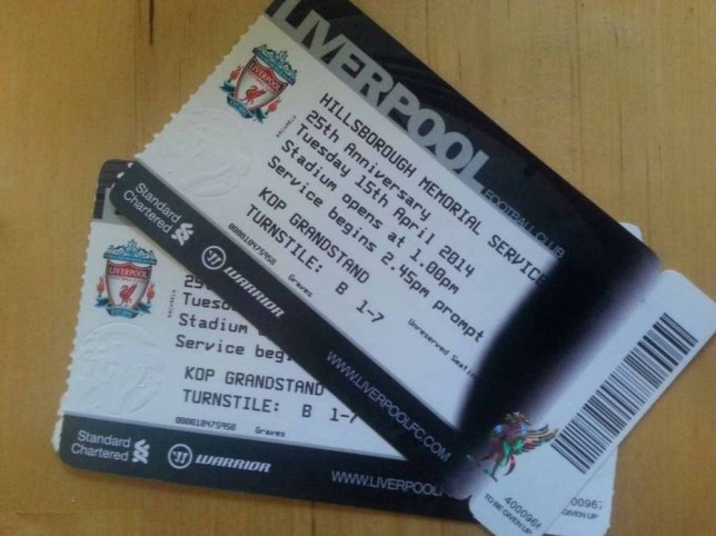 The Hillsborough memorial service tickets.Touts have passed them off as match day tickets and sold them for £100 a time.