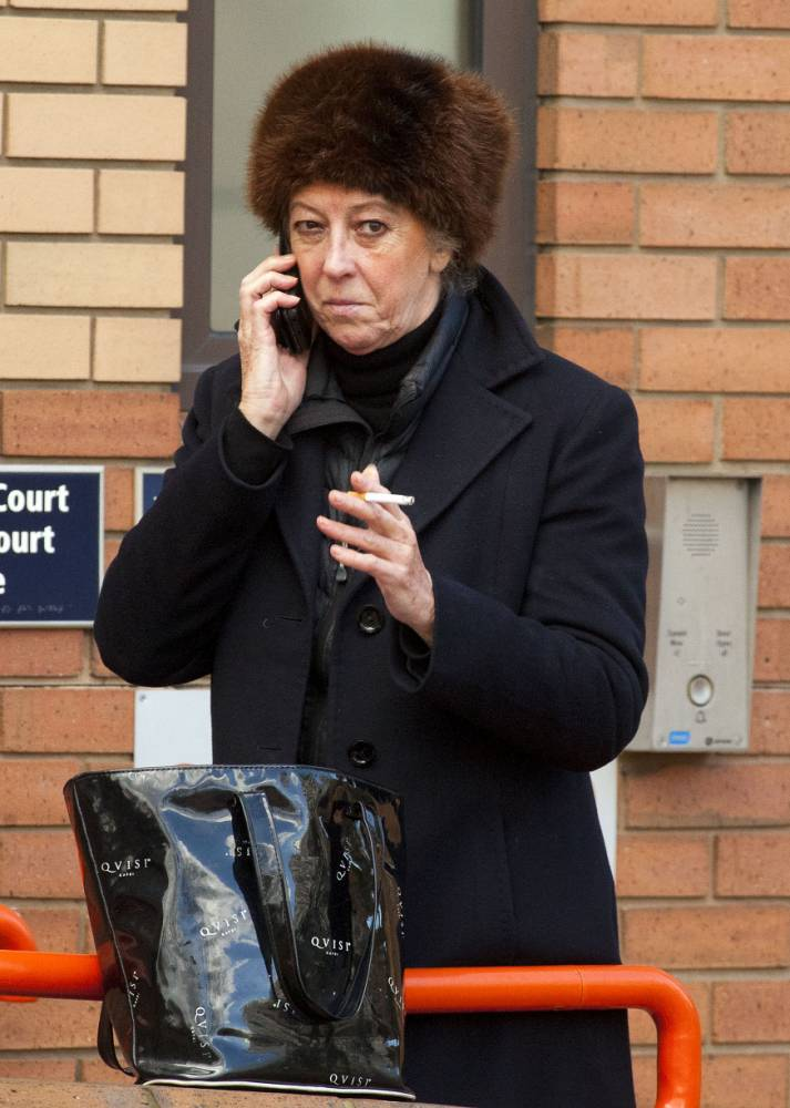Baroness Marie-Claire von Alvensleben in court for racially abusing hotel guests at the exclusive Sheraton Belgravia HotelnnPictured: Baroness Marie-Claire von Alvensleben smokes outside hammersmith magistrates court this morning before her hearing.nnJamie Lorriman/Central NewsnPic: Jamie Lorriman/Central News