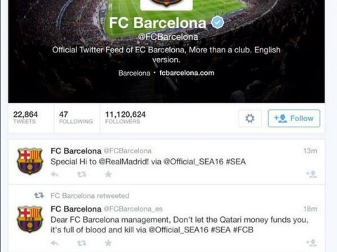 FC Barcelona Twitter account 'hacked by Syrian Electronic Army' who say hi to Real Madrid
