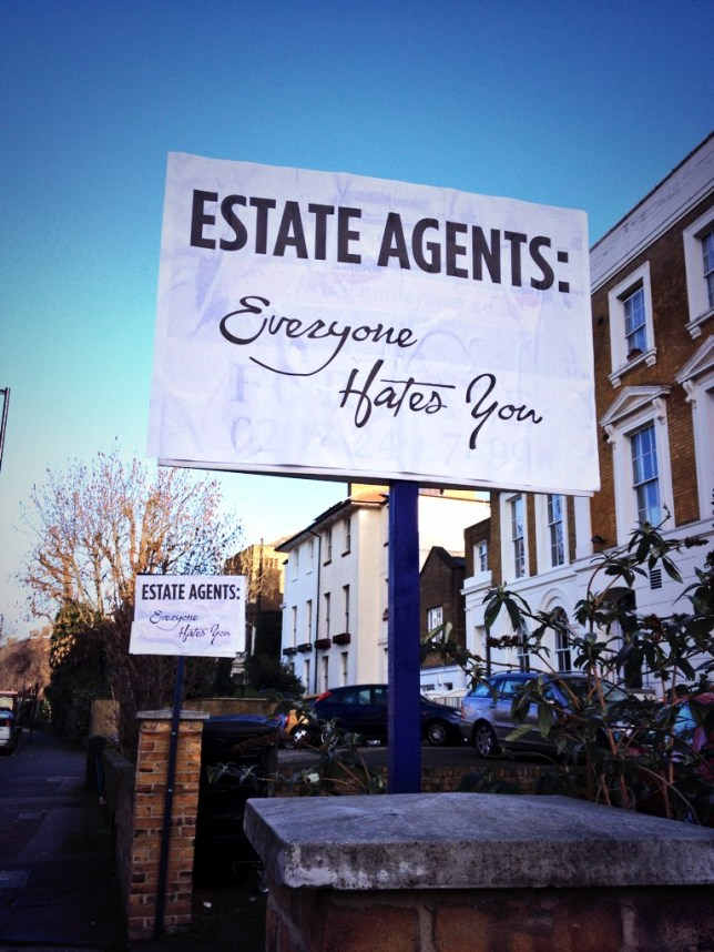 Disgruntled house-hunter goes on rampage with anti-estate agent signs