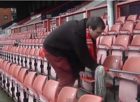 Leyton Orient fan cleans Brisbane Road seating because club re-signed favourite player Eldin Jakupovic