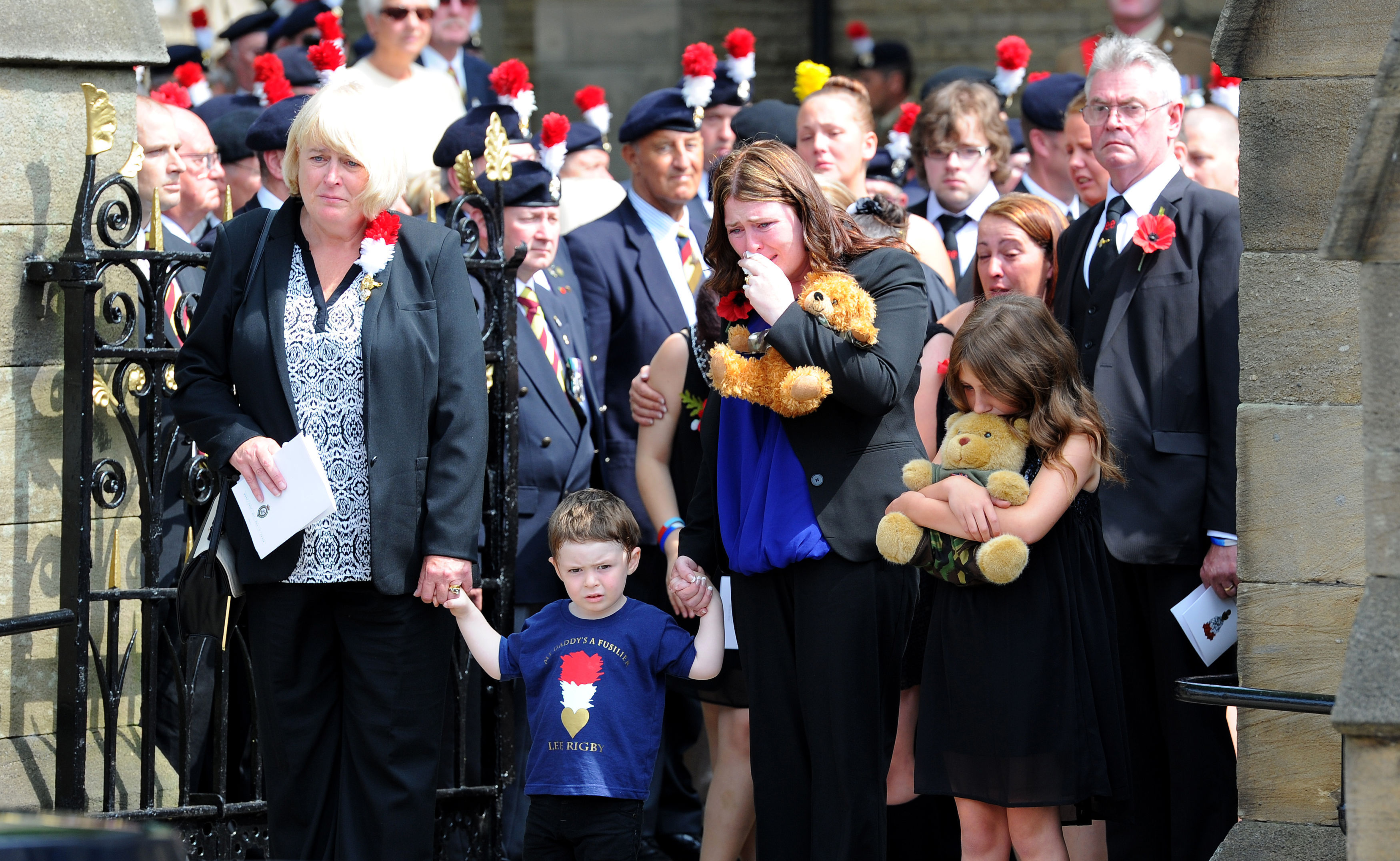 Rebecca Rigby with son Jack at Lee Rigby's funeral (Picture: PA)