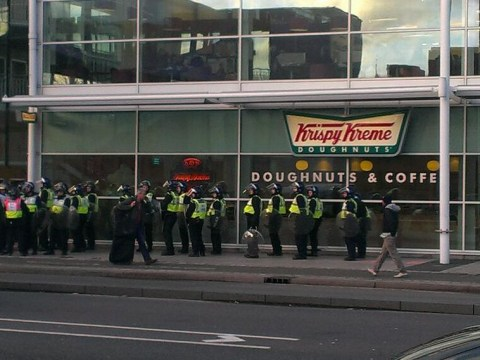 Riot police 'queue for doughnuts' during EDL march in Slough