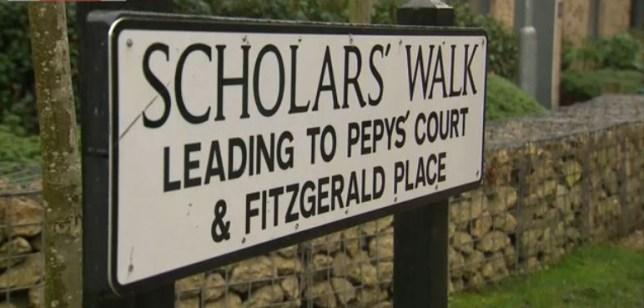 Scholars' Walk sign in Cambridge
