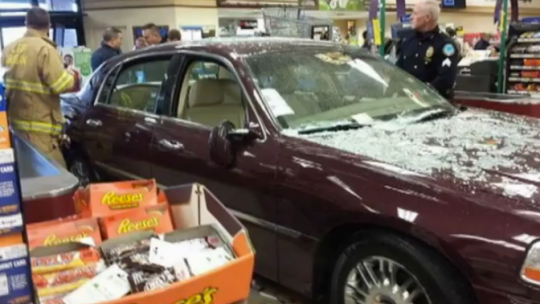 Blocker drove her car into the Kroger store (Picture: Wave 3/YouTube)