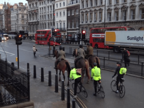 Innovative (and privileged) commuters avoid Tube strike misery by riding their horses to work