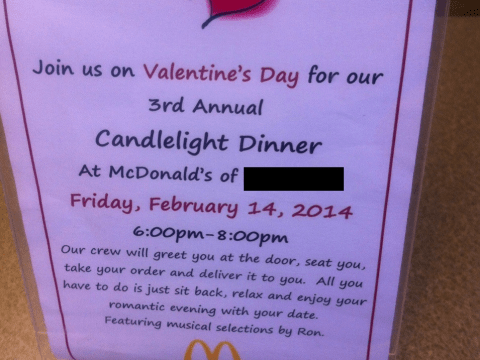 Candlelight dinner for two this Valentine's Day… at McDonald's