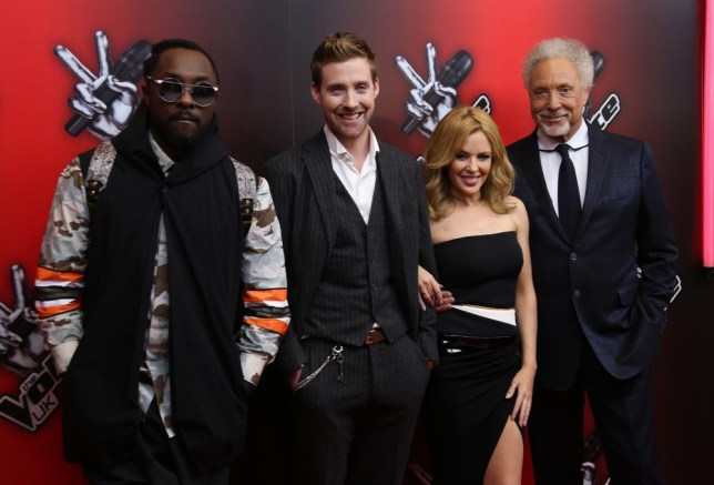 From left, U.S producer and songwriter Will.i.am, British singer Ricky Wilson, Australian singer Kylie Minogue, and Sir Tom Jones pose for photographs during a photo call for The Voice UK at the BBC Broadcasting House in central London, Monday, Jan. 6, 2014. (Photo by Joel Ryan/Invision/AP) Joel Ryan/Invision/AP