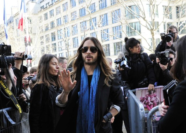 Gratuitous Jared Leto shot as he arrives at Miu Miu's fall/winter 2014-2015 show (Picture: AP Photo/Zacharie Scheurer)