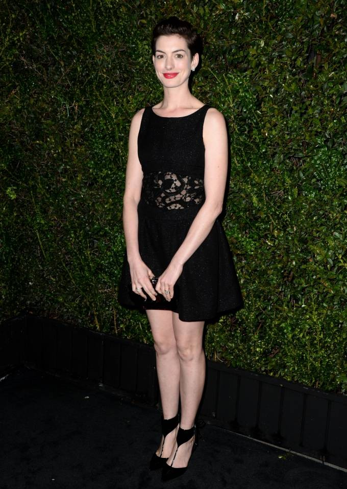 LOS ANGELES, CA - MARCH 01:  Actress Anne Hathaway attends the Chanel and Charles Finch Pre-Oscar Dinner at Madeo Restaurant on March 1, 2014 in Los Angeles, California.  (Photo by Frazer Harrison/Getty Images for Chanel)