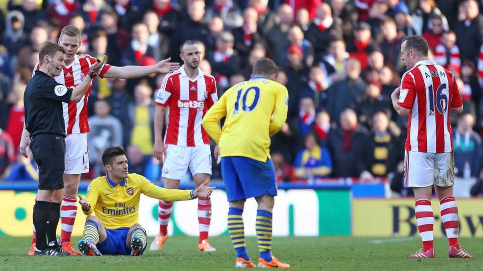 Angry Stoke to 'vigorously appeal' Charlie Adam violent-conduct charge for 'stamp' on Olivier Giroud