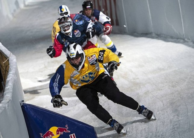 FREE HANDOUT PIC NO FEE.Athletes skate during the finals of the Red Bull Crashed Ice, the Ice Cross Downhill World Championship in Helsinki / Espoo, Finland on February 1, 2014.