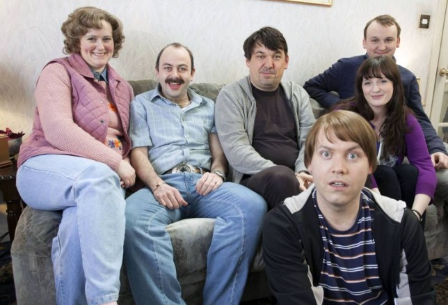 Phillipa Dunne, Niall Gaffney, Owen Roe, Rory Connelly , Amy Stephenson and Shane Langan in The Walshes (Picture: Delightful Industries/Allan Staley)