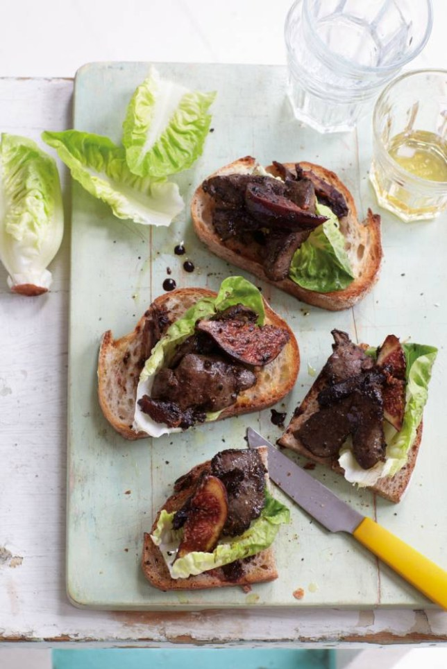 Sticky chicken liver on toast by Anjum Anand (Picture: Lisa Linder)