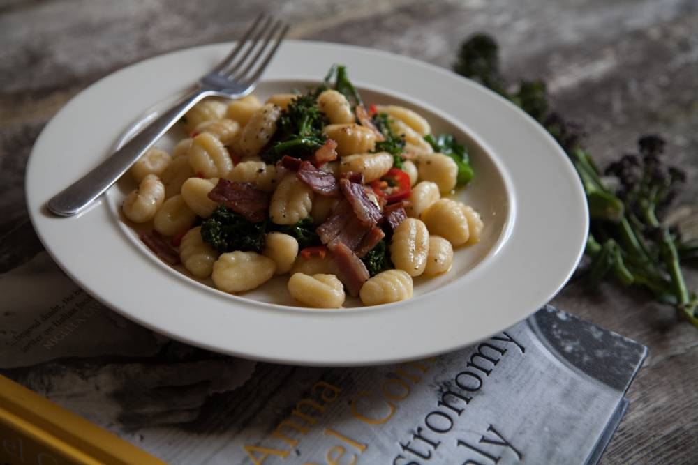 Chloe Scott's recipe for gnocchi with purple sprouting broccoli contains pancetta and pine nuts (Picture: Oli Jones)