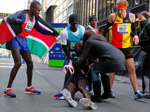 Britain's Mo Farah 'fine' after collapsing at the finish line in New York City half-marathon
