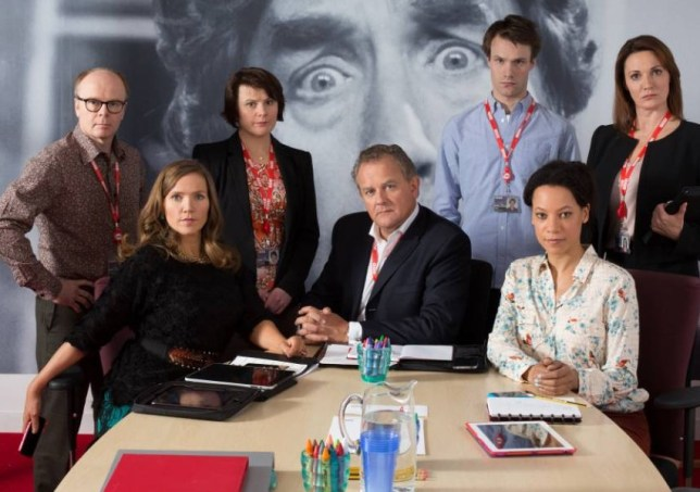 The cast of W1A including Jessica Hynes as Siobhan Sharpe and Hugh Bonnevilleas Ian Fletcher (Picture: BBC)