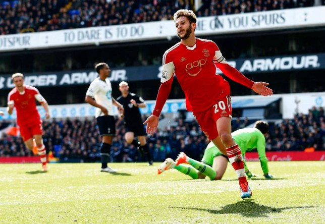 """Southampton's Adam Lallana (R) celebrates scoring during their English Premier League soccer match against Tottenham Hotspur at White Hart Lane in London, England March 23, 2014. REUTERS/Andrew Winning (BRITAIN - Tags: SPORT SOCCER) NO USE WITH UNAUTHORIZED AUDIO, VIDEO, DATA, FIXTURE LISTS, CLUB/LEAGUE LOGOS OR """"LIVE"""" SERVICES. ONLINE IN-MATCH USE LIMITED TO 45 IMAGES, NO VIDEO EMULATION. NO USE IN BETTING, GAMES OR SINGLE CLUB/LEAGUE/PLAYER PUBLICATIONS. FOR EDITORIAL USE ONLY. NOT FOR SALE FOR MARKETING OR ADVERTISING CAMPAIGNS"""