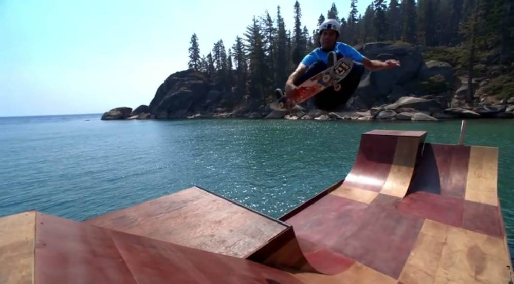 Pictures: Bob Burnquist's floating skate ramp on lake Tahoe