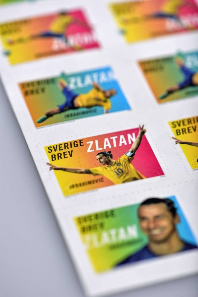 This photo taken on March 27, 2014 shows the first stamps of the Swedish football player Zlatan Ibrahimovic released in Sweden. Five millions stamps have been pre-ordered.  AFP PHOTO / TT NEWS AGENCY / ANDERS WIKLUND /  SWEDEN OUTANDERS WIKLUND/AFP/Getty Images