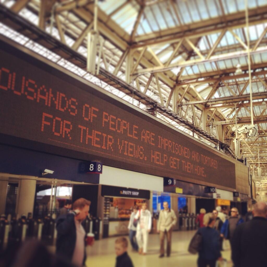 Amnesty takes over Waterloo station's departure boards to highlight the plight of prisoners of conscience