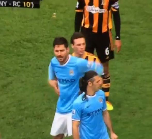 James Chester got hands on with Javi Garcia (Picture: Vine)