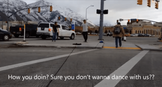 Bet-loser forced to dance for 30 minutes on street corner