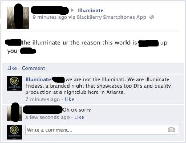 Is this the best Facebook exchange ever? Troll tries to speak out against the Illuminati, chooses the wrong Facebook page to do so