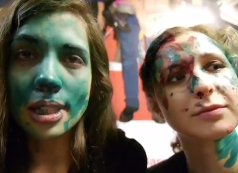 'Green paint' attack on Pussy Riot members in McDonald's caught on camera