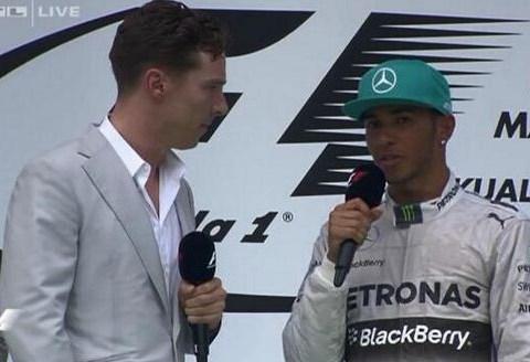 Lewis Hamilton wins Malaysian Grand Prix then gets interviewed by Sherlock actor Benedict Cumberbatch