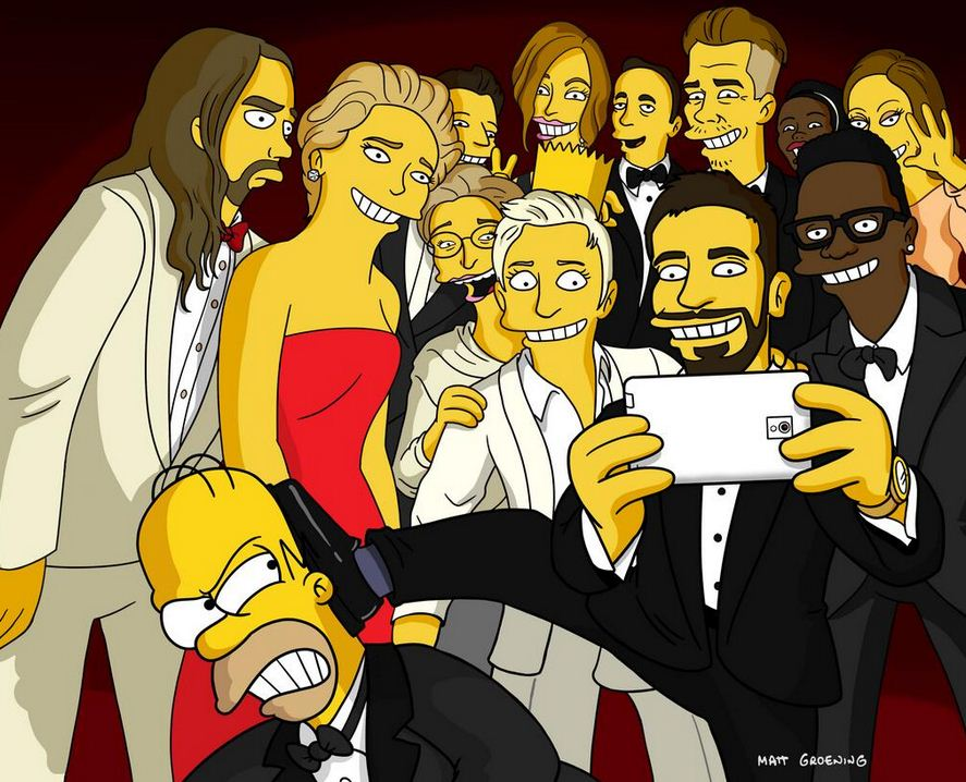 Bradley Cooper doesn't want Homer Simpson in the photo. How mean! (Picture: Matt Groening/Twitter)