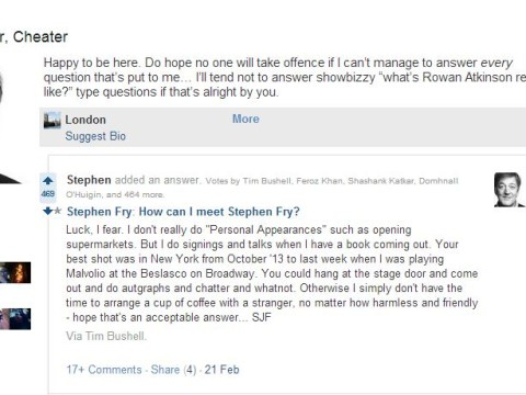 Stephen Fry tells fan and Quora user the best way to meet Stephen Fry