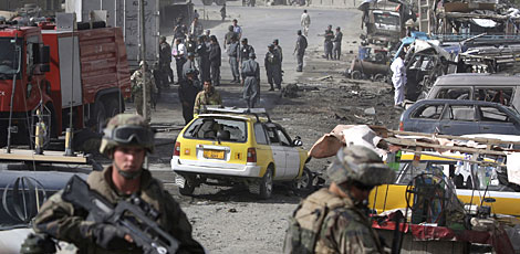 Aftermath of yesterday's suicide blast in Kabul