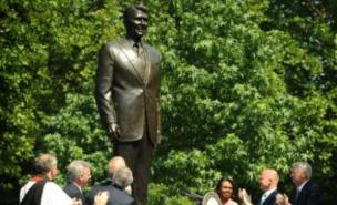 The statue of Ronald Reagan stands in London's Grosvenor Square (PA)