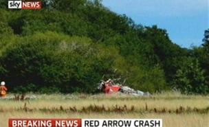 The Red Arrows Hawk came down in a field (Sky News)
