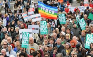 Protesters gathered in Trafalgar Square for the anti-war demo (PA)