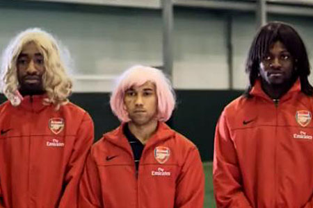 Arsenal players in drag