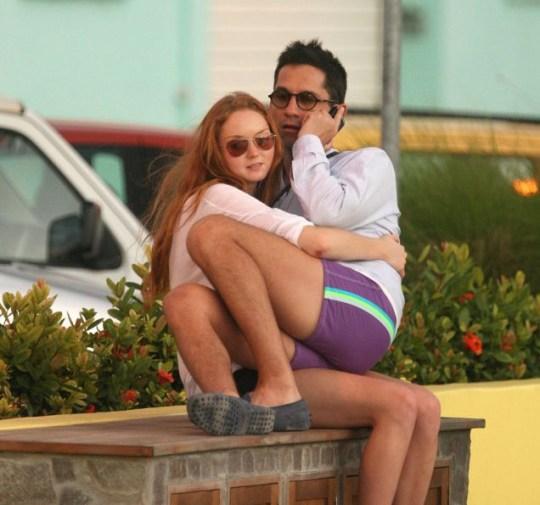 Lily Cole cuddles big baby Enrique