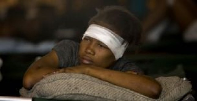 An injured survivor of the Haiti disaster.