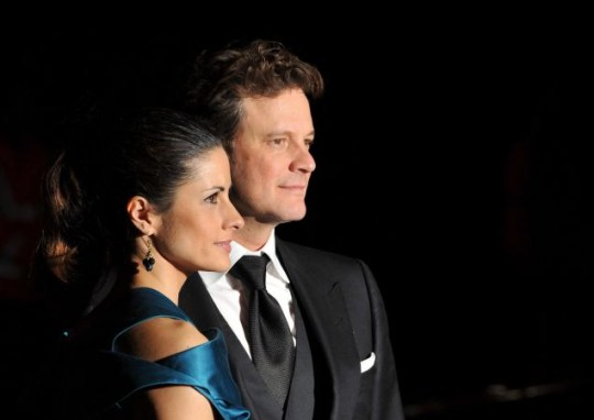 Colin Firth (R) arrives with Italian-born wife Livia Guggioli