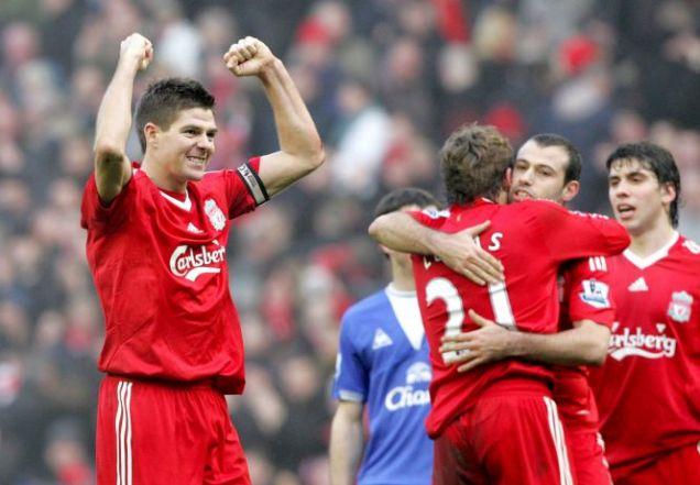 Steven Gerrard celebrates derby victory over Everton