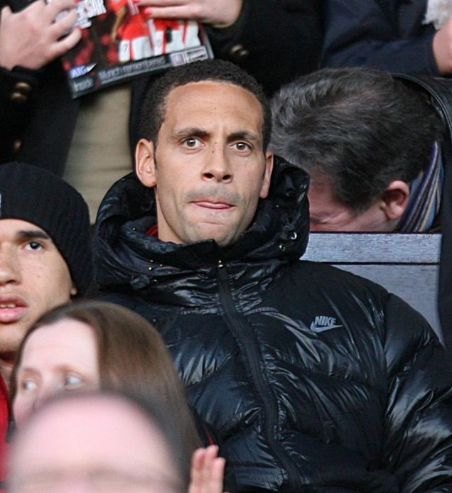 Ferdinand sits in the stands for the Portmsouth match