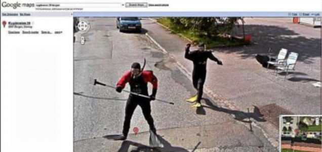 Scuba men caught in Google maps