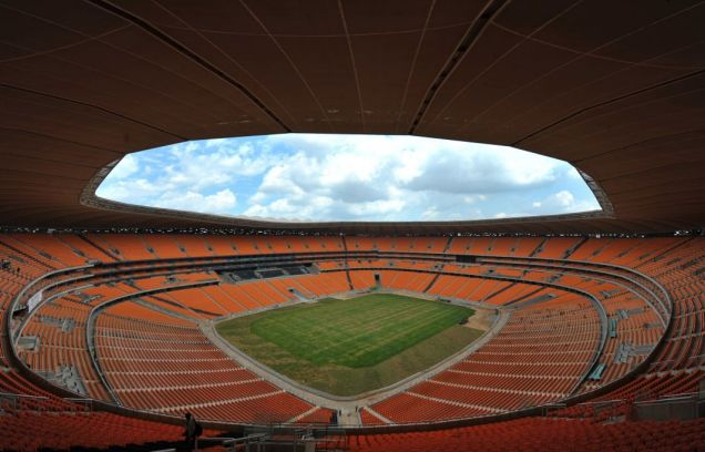 Photo shows Soccer City stadium in Soweto just outside of Johannesburg on December 13, 2009. Soccer City Stadium is the main venue for The FIFA 2010 World Cup, held for the first time in Africa, and the stadium will host the opening match between South Africa and Mexico as well as the World Cup Final match. AFP PHOTO / ALEXANDER JOE (Photo credit should read ALEXANDER JOE/AFP/Getty Images)