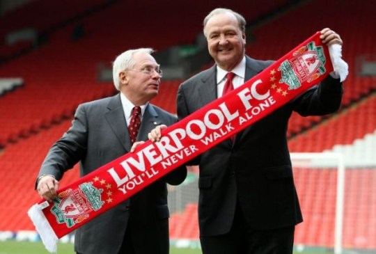 Liverpool's co-owners American businessmen George Gillett Jr. left, and Tom Hicks