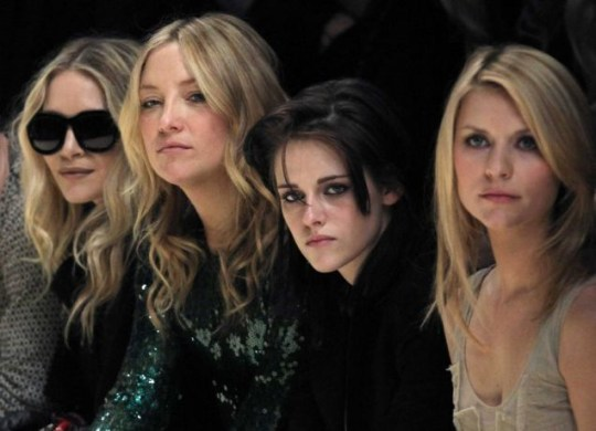 Mary Kate Olsen, Kate Hudson, Kristen Stewart, and Claire Danes watch the Burberry Autumn/Winter collection