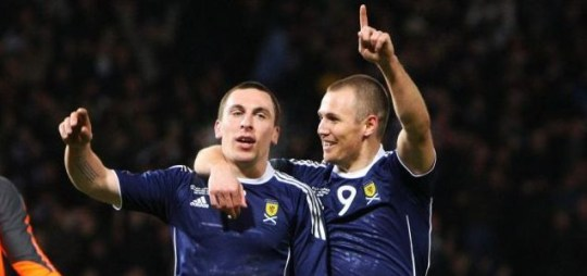 Czech mate: Scott Brown (left) celebrates  his goal with Kenny Mille