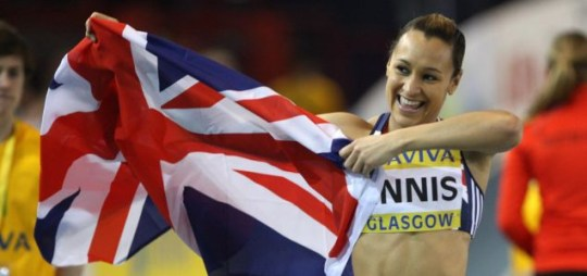 Jessica Ennis celebrates victory in the women's 60m hurdles during the Aviva International at Kelvin Hall, Glasgow