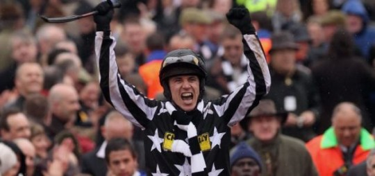 Paddy Brennan celebrates after riding Imperial Commander to victory in the Cheltenham Gold Cup